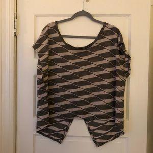 Light knit open back striped shirt